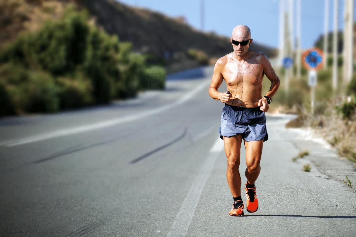 older male running