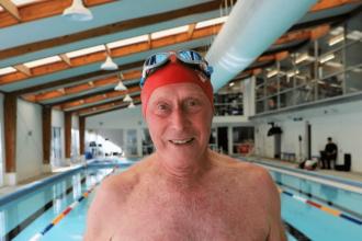 close up of older adult swimmer
